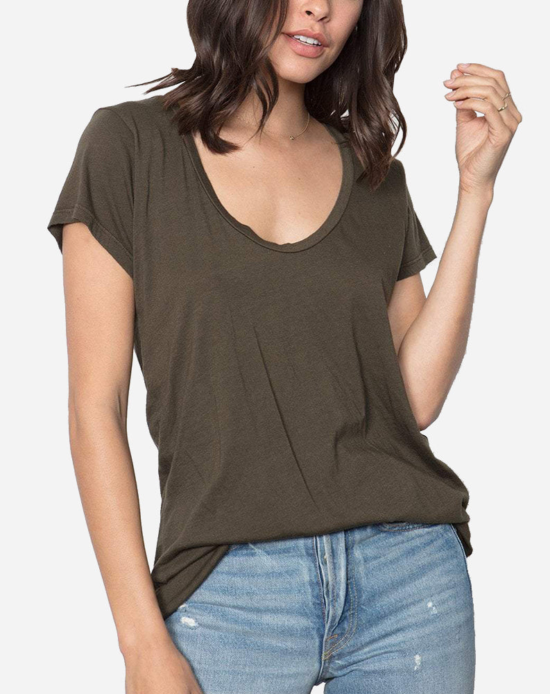 Modal Scoop Neck Tee in Olive