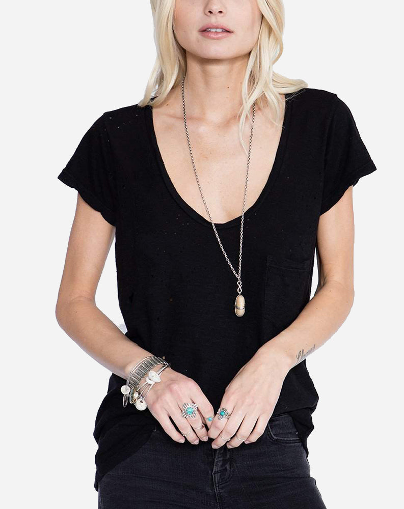 Modal Scoop Neck Tee in Black