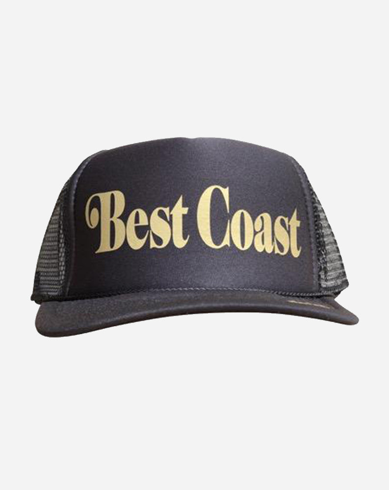 BEST COAST Trucker Hat in Black/Gold Ink