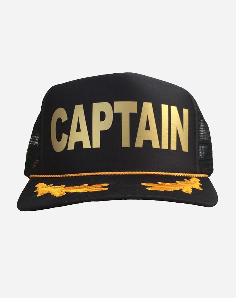 CAPTAIN w/ Laurels Trucker Hat in Black/Gold