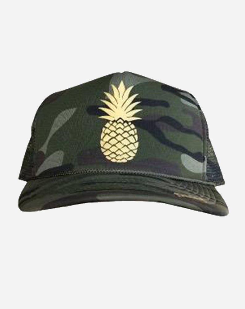Pineapple Trucker Hat in Green Camo/Gold Ink