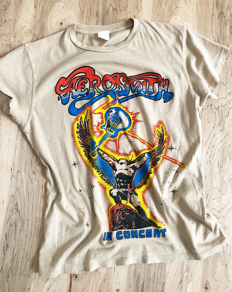 Aerosmith in Concert Crew Tee in Taupe