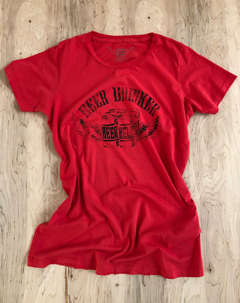 Beer Drinker Tee in Red/Black