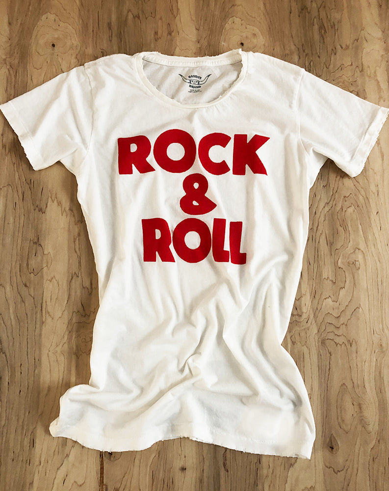 Rock & Roll Tee in White/Red