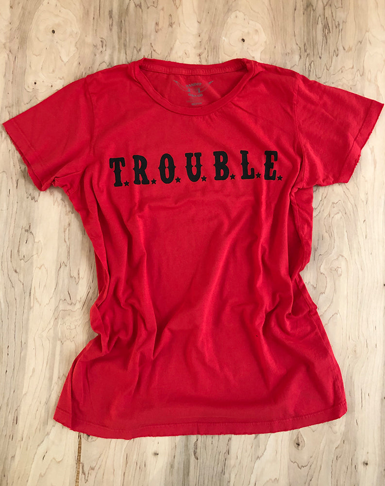 Trouble Tee in Red/Black