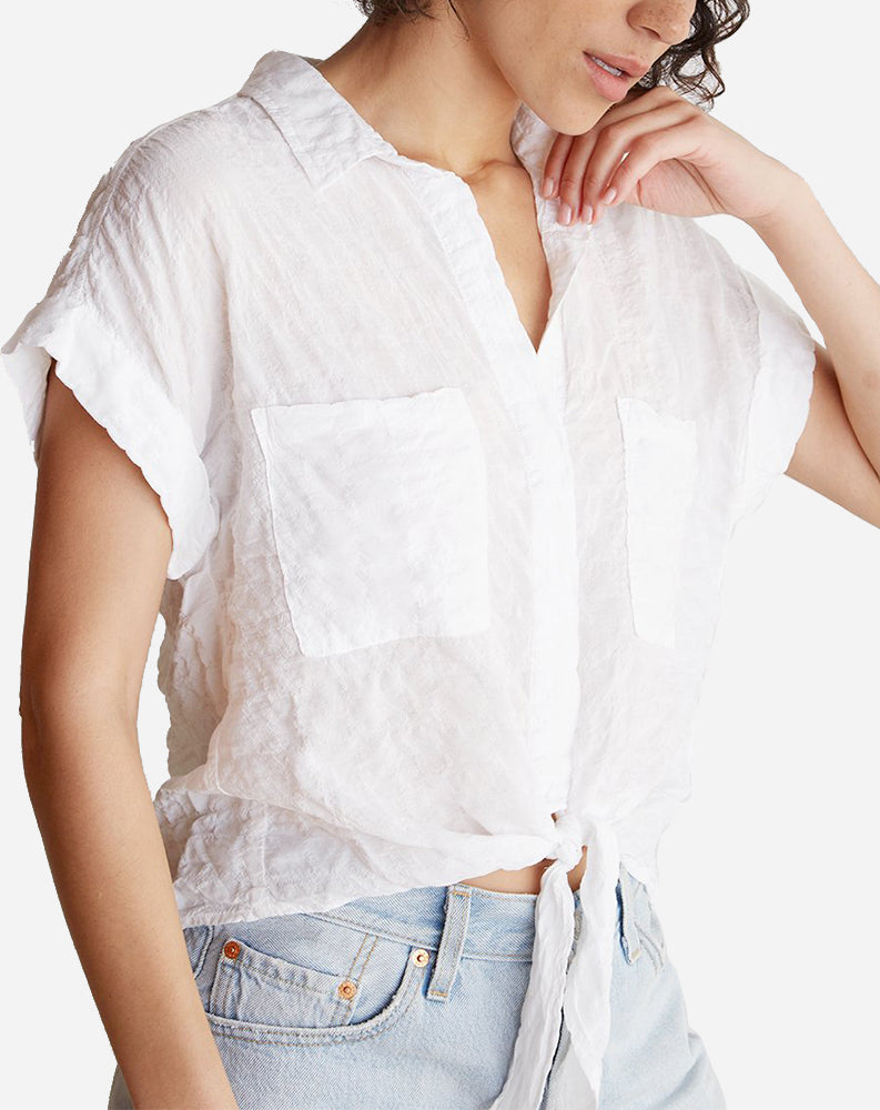 Cap Sleeve Tie Up Shirt in White