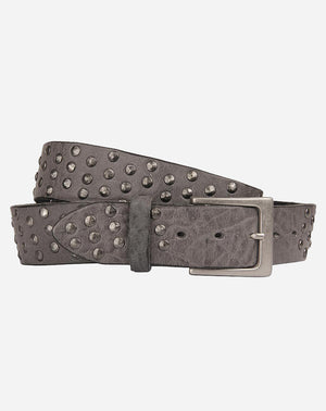 Coperto Curved Leather Belt in Gun Smoke Grey/Silver Studs