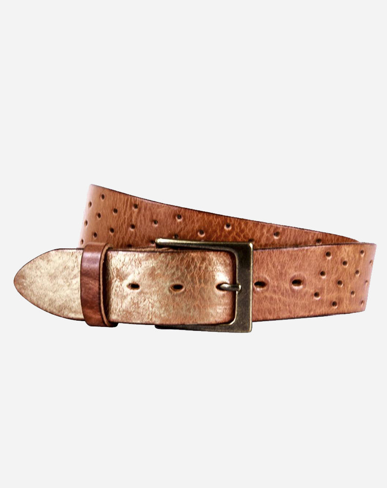 Perforata Curved Leather Belt in Cognac/Gold Tip