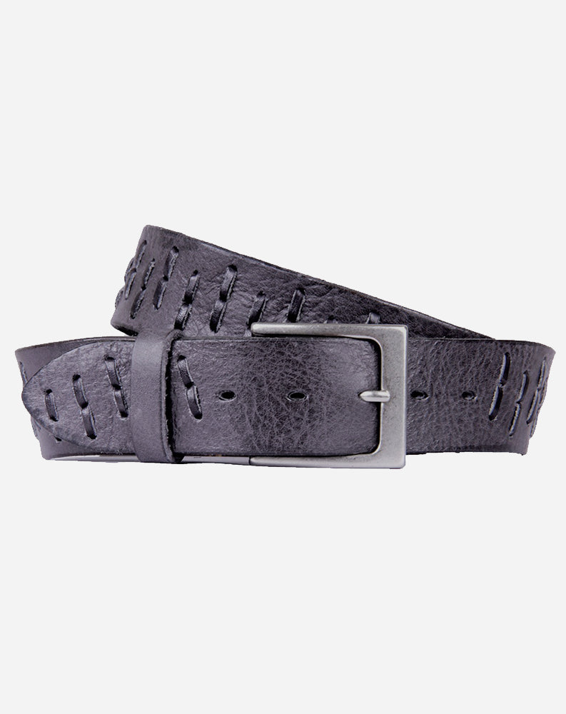 Segmento Curved Leather Belt in Distressed Grey/Black Lacing