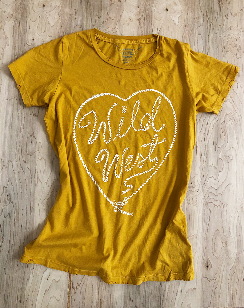 Wild West Tee in Mustard/White