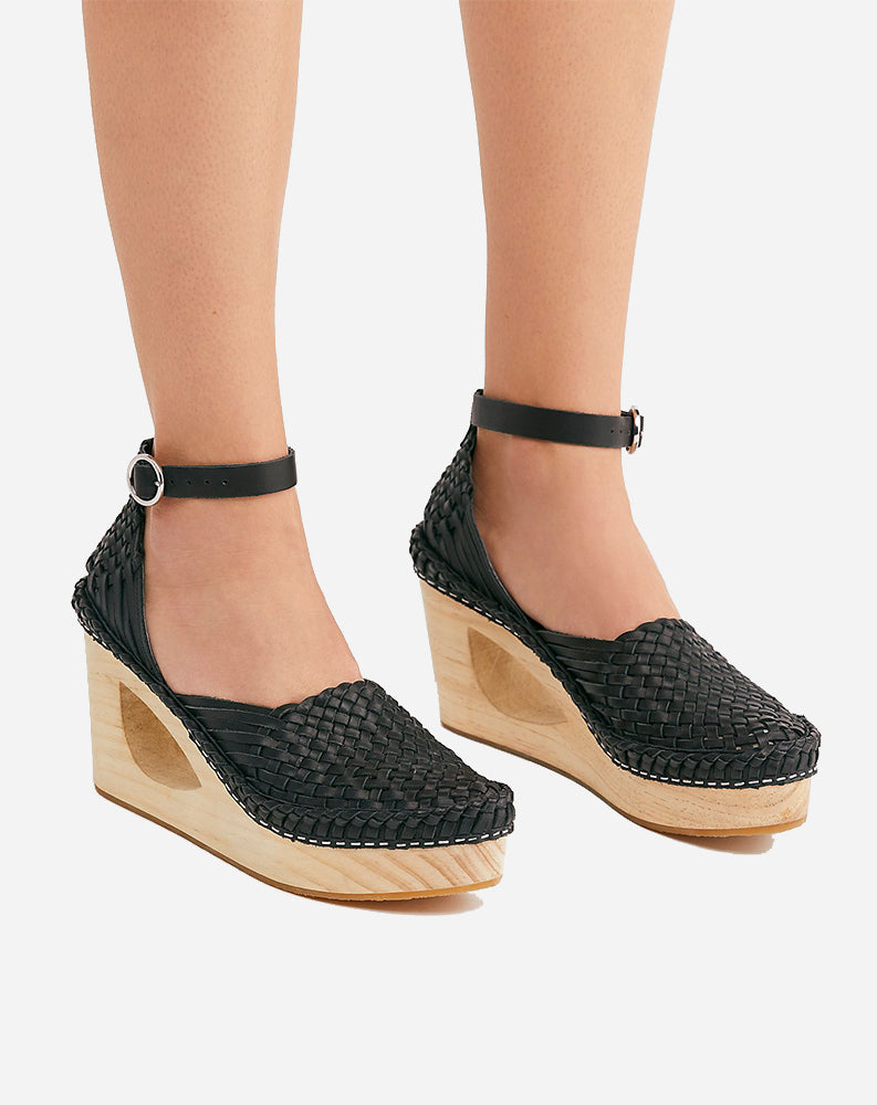 Teagan Huarache Wedge in Black