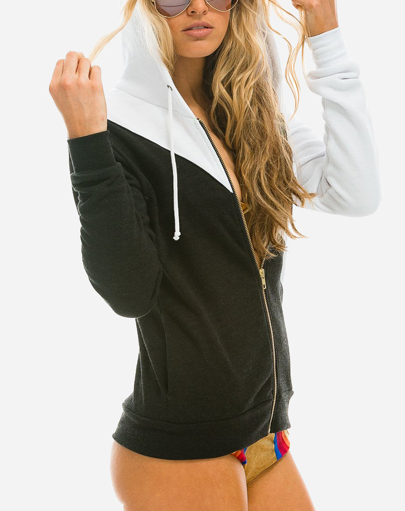 Glider Zip Hoodie in White/Black