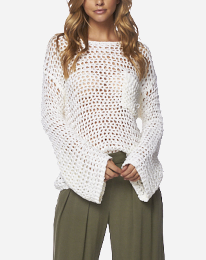 Wide Knit Sweater in Ivory