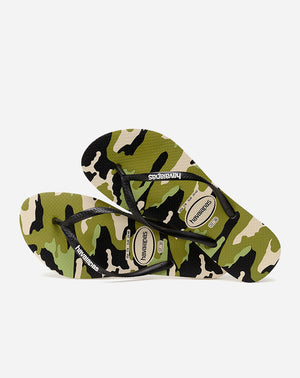 Slim Camo Sandal in Beige/Black