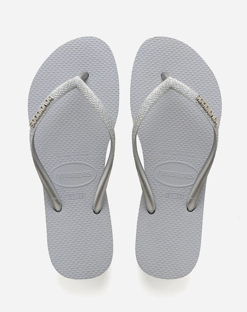 Slim Glitter Sandal in Steel Grey