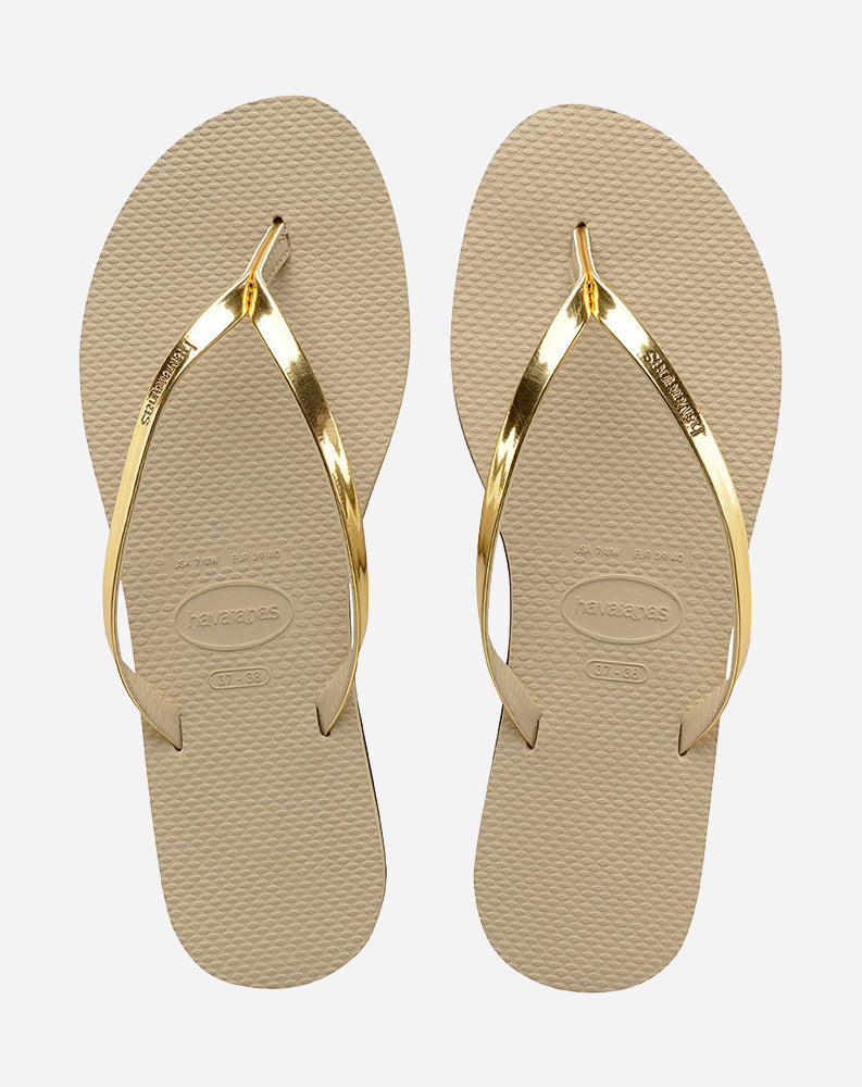 You Metallic Sandal in Sand Grey/Light Golden