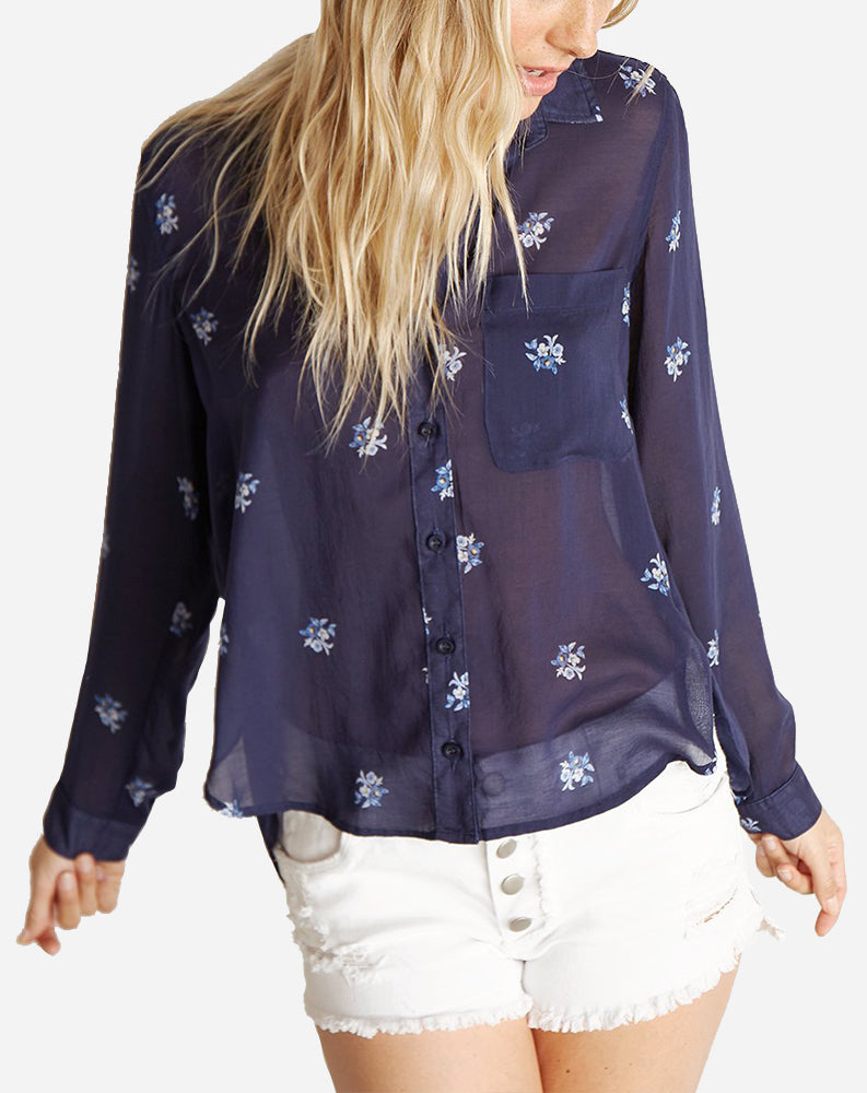 Rounded Hem Pocket Button Down in Spaced Floral