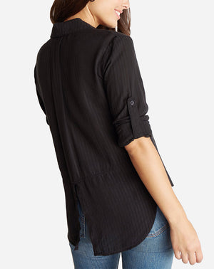 Split Back Button Down in Black