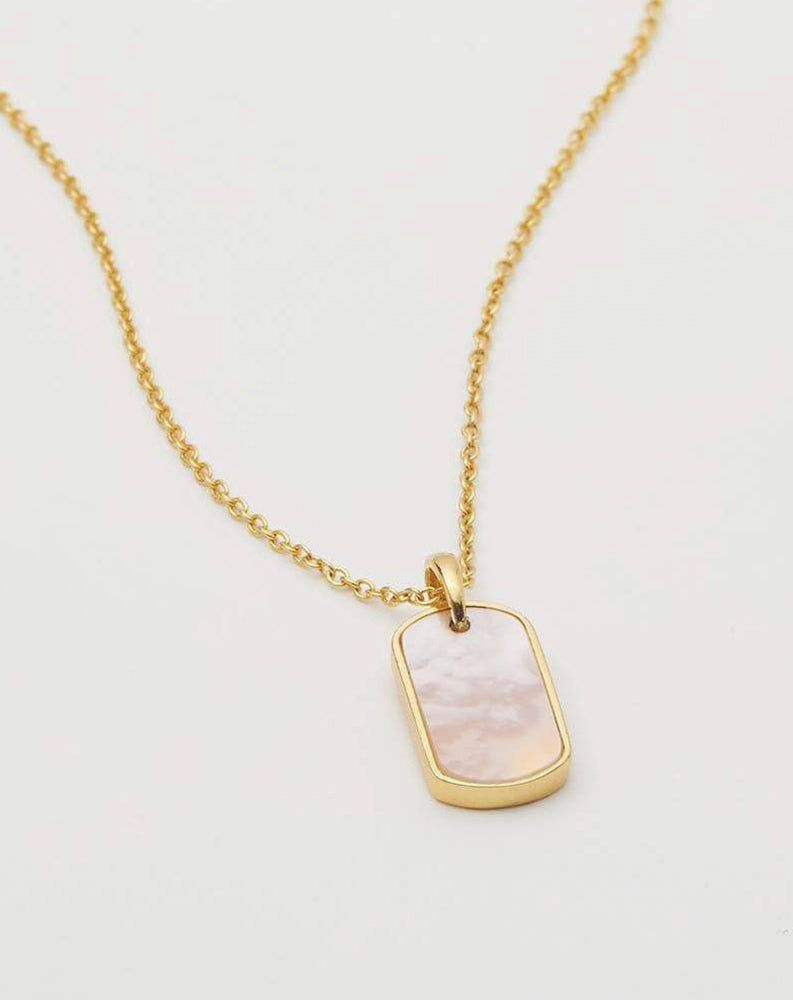 Griffin Dog Tag Necklace in Mother Of Pearl & Gold