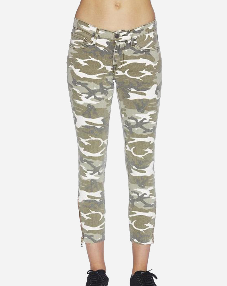 High Rise Zip Skinny in Spring Camo