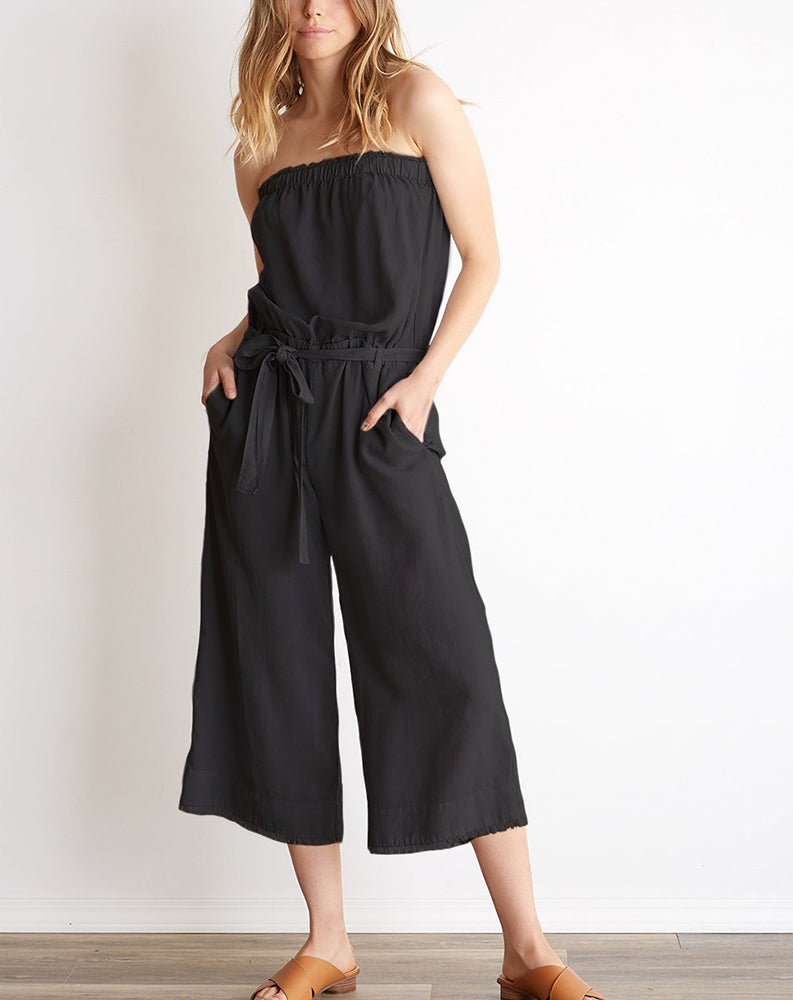 Strapless Frayed Crop Jumpsuit in Night Shade