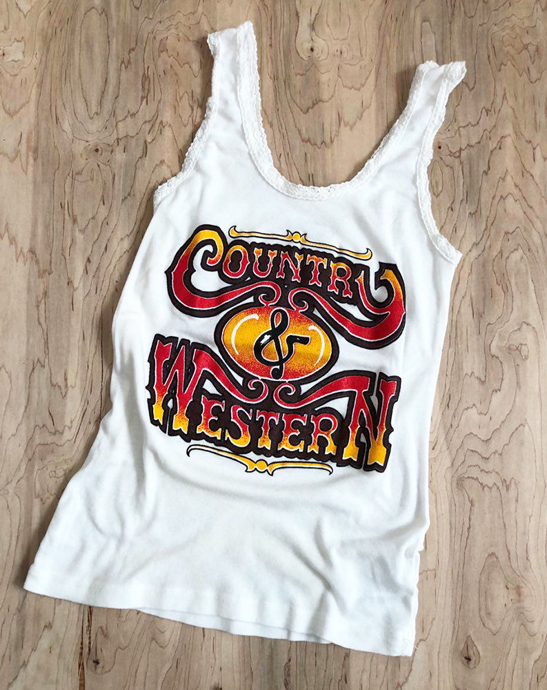 Country & Western Lace Tank in White w/ Multi Color