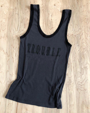Trouble Lace Tank in Black w/ Black