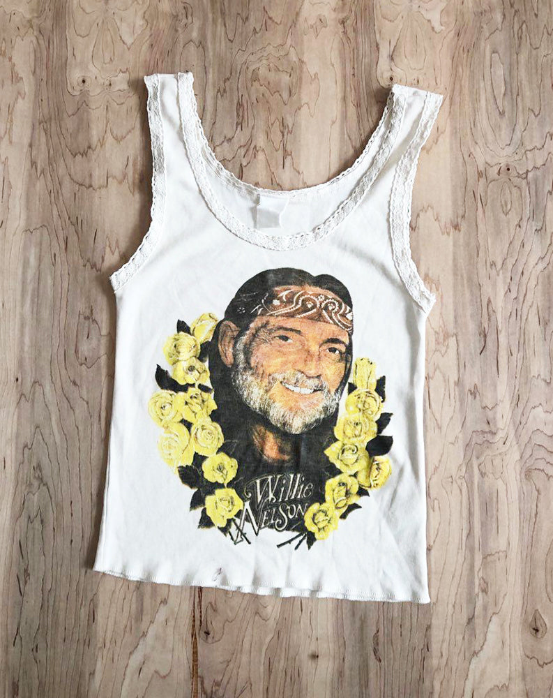 Willie Nelson Flowers Lace Tank in Off White