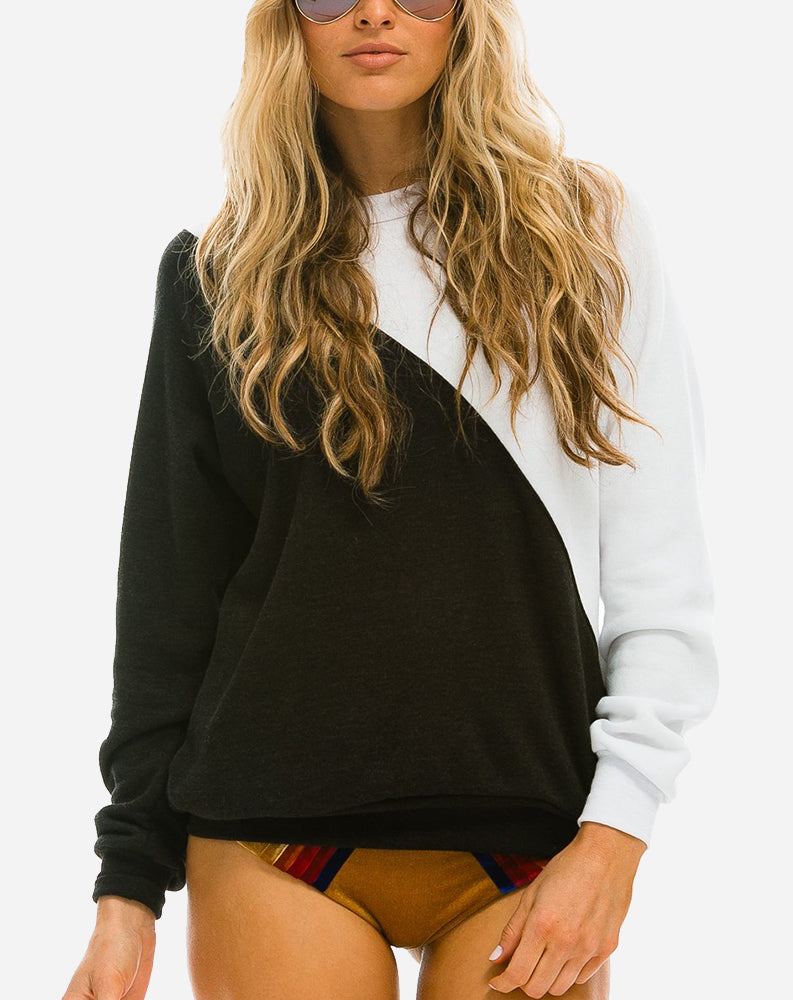 Glider Crew Sweatshirt in White/Black