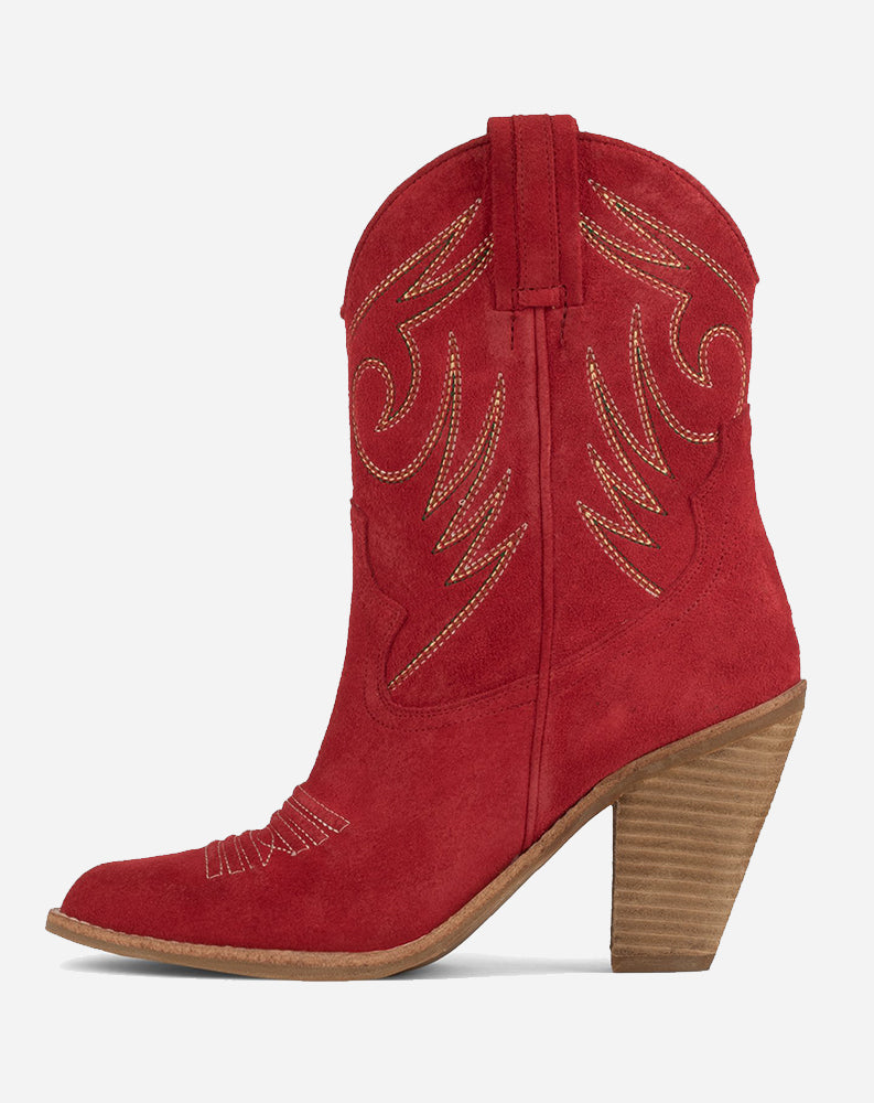 Audie Mid Shaft Western Boot in Red Suede