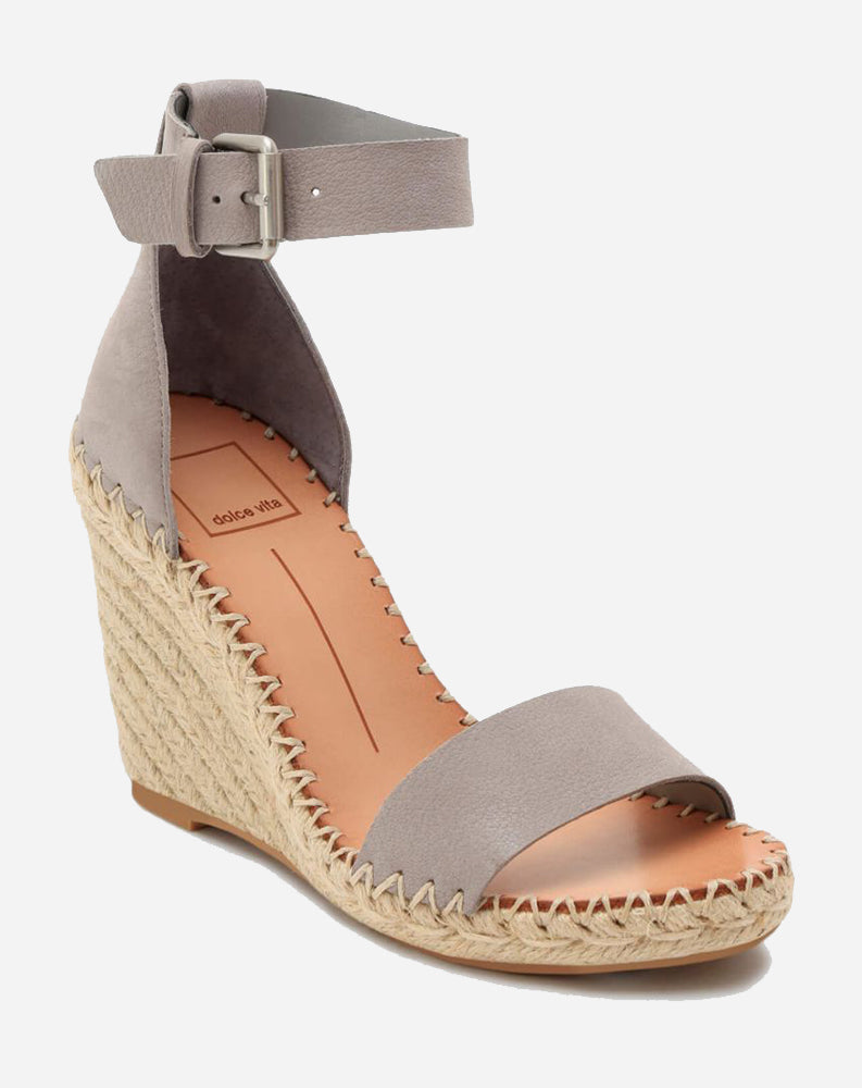 Noor Wedge in Grey Nubuck