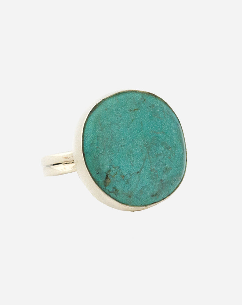 Round A'Bout Arizona Turquoise Ring in Silver