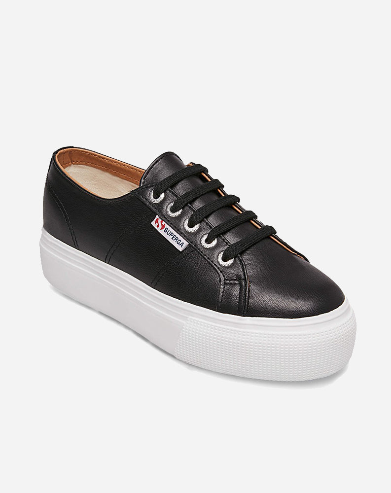 Nappa Leather Platform Sneaker in Black