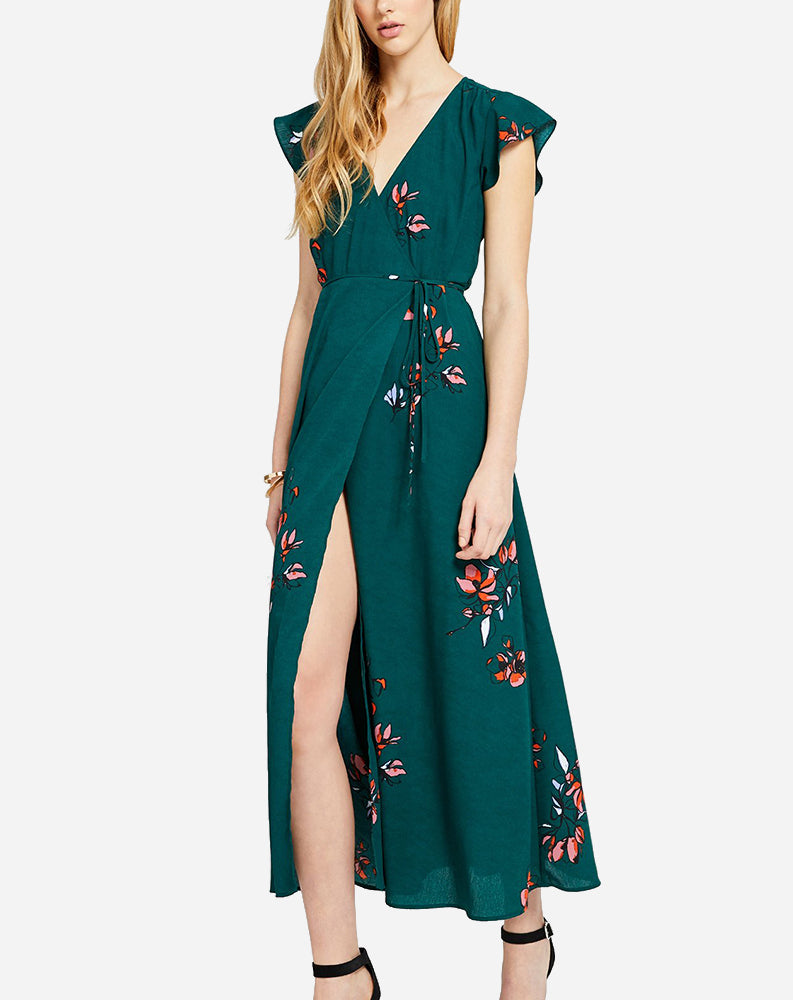Alba Dress in Green Linework Floral