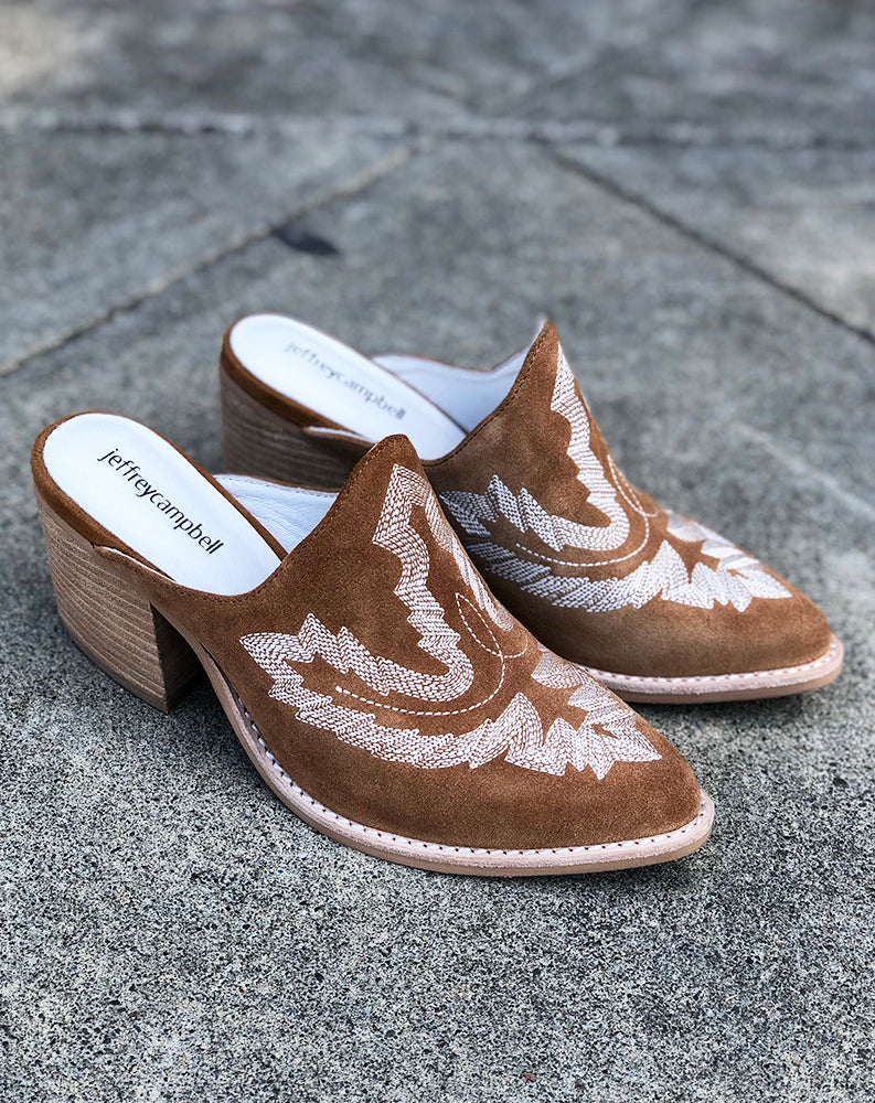 Favela Embroidered Mule in Tan Suede