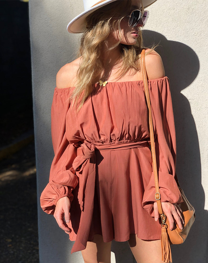 Off The Shoulder Romper in Burnt Orange