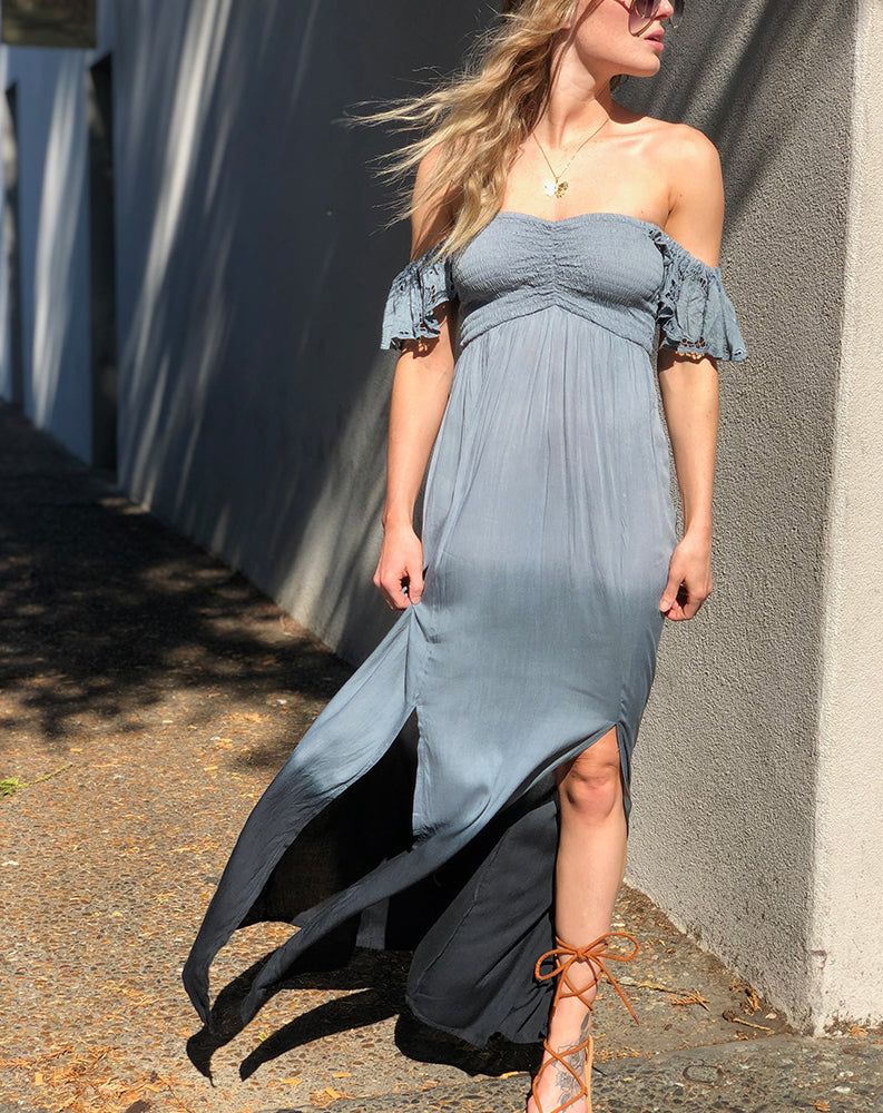 Eyelet Hollie Long Dress in Grey Black Gradasi