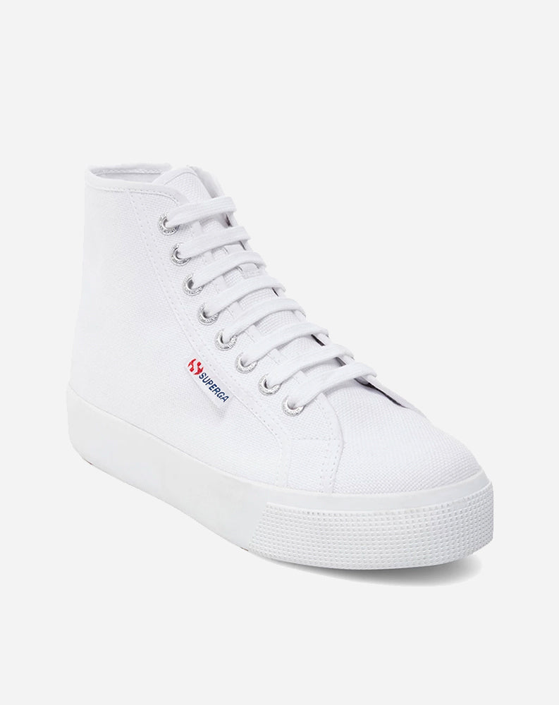 Platform Canvas High Top Sneaker in White