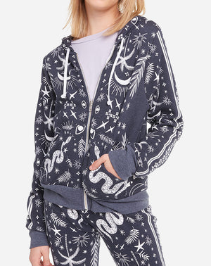 Carta Zip Hoodie in Mystic Bandana Night