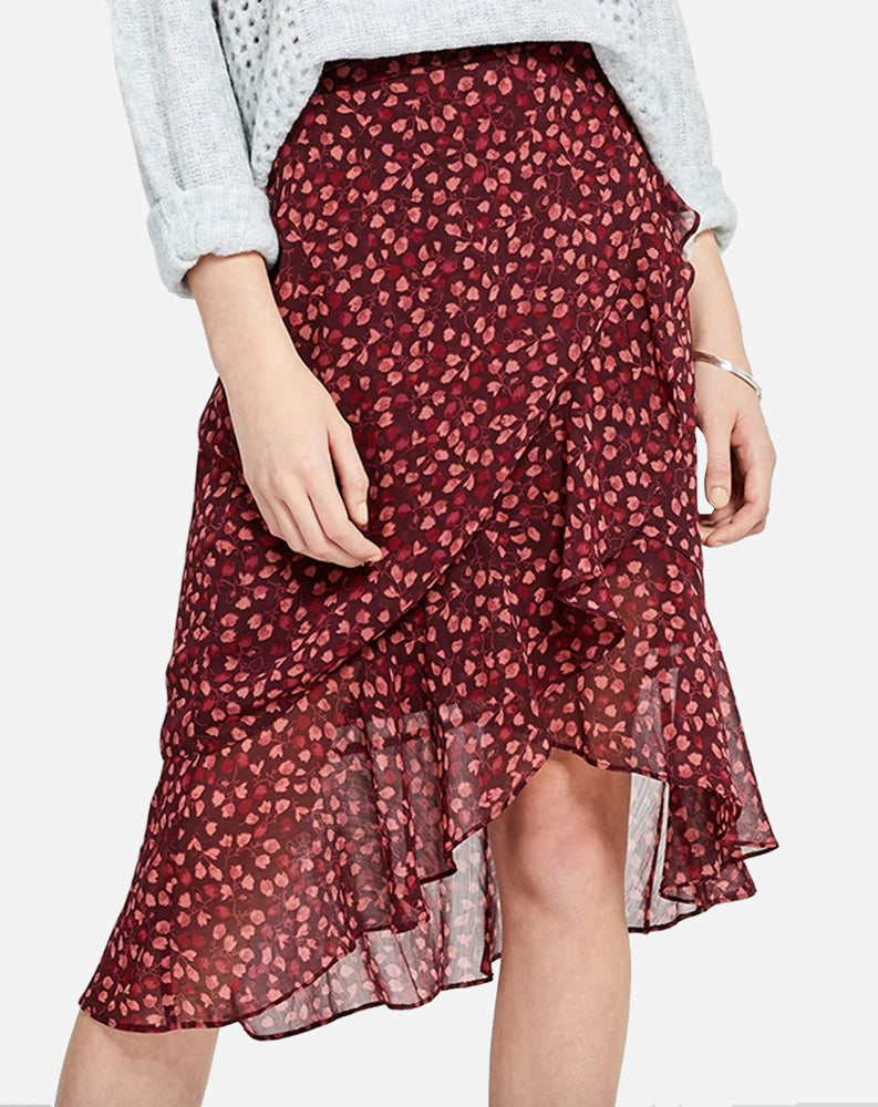 Xena Skirt in Allover Floral Red