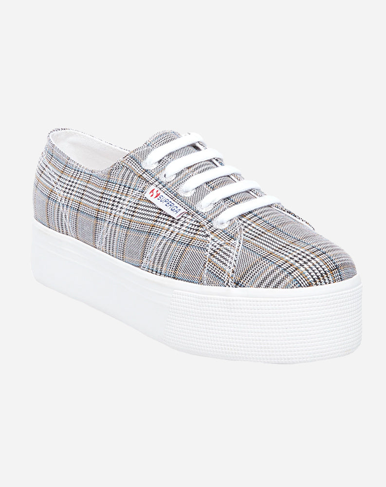 Platform Sneaker in Black Plaid Canvas