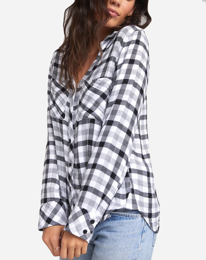 Two Pocket Button Down in Snow White Plaid