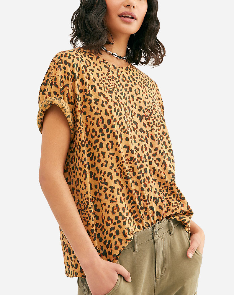Printed Clarity Tee in Brown Combo/Cheetah