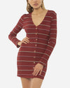 Baciami Long Sleeve Knit Dress in Fig Stripe