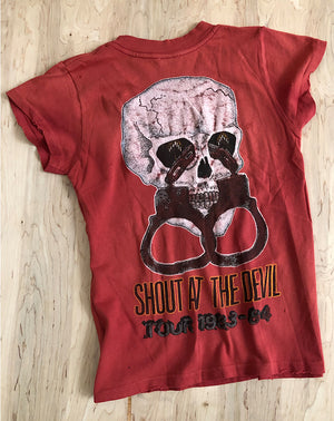 Motley Crue Shout At The Devil Shrunken Tee in Red