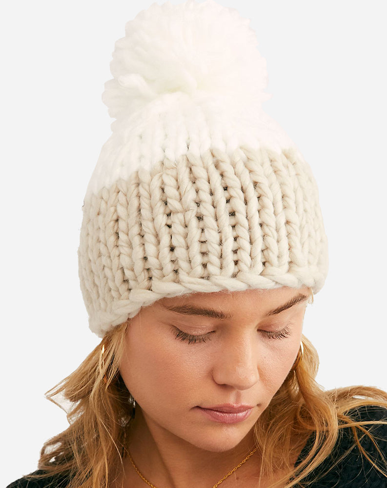 Cozy Up Color Block Pom Beanie in Ivory/Tan