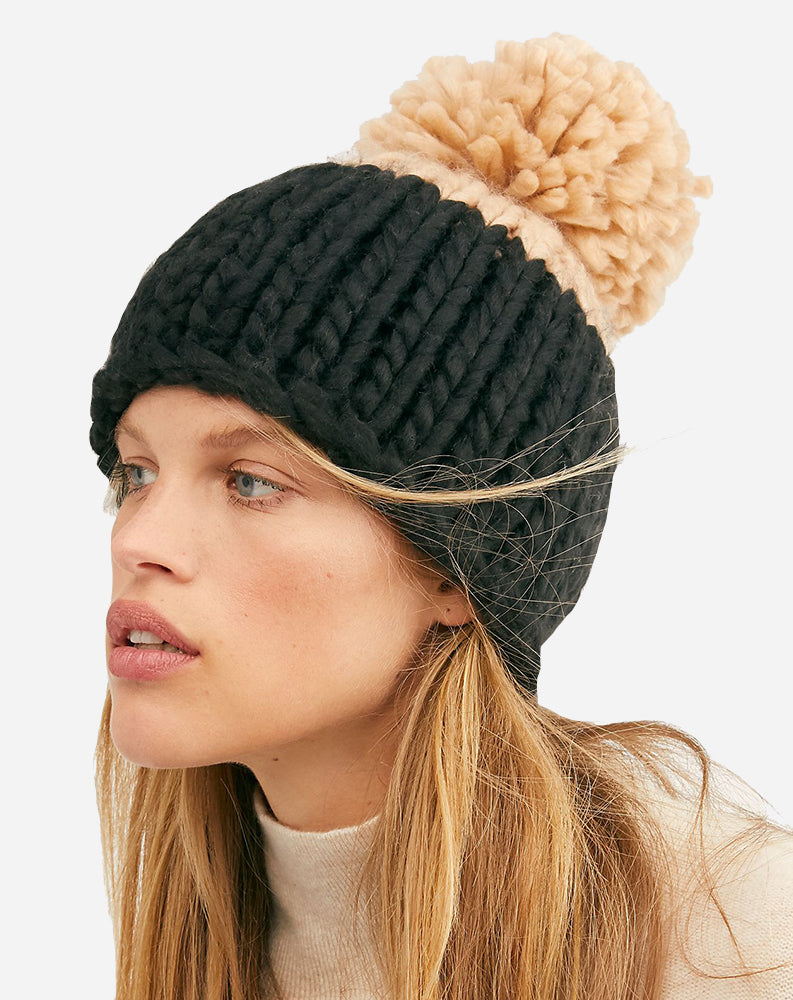 Cozy Up Color Block Pom Beanie in Black/Camel