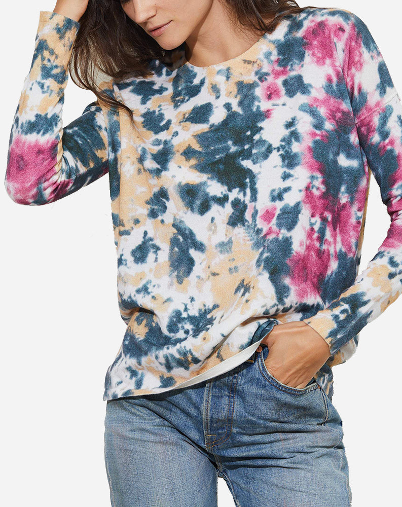Cassi Long Sleeve Crew Pullover in Monarch Tie Dye
