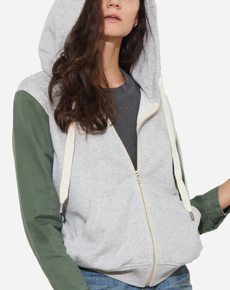 Gretchen Zip Up Hoodie in Heather Grey