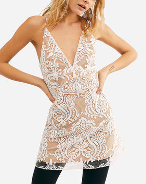 Night Shimmers Mini Dress in Ivory